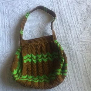 Funky vintage hand knitted shoulder bag